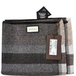 GUCCI Web Stripe Wool Scarf Brown